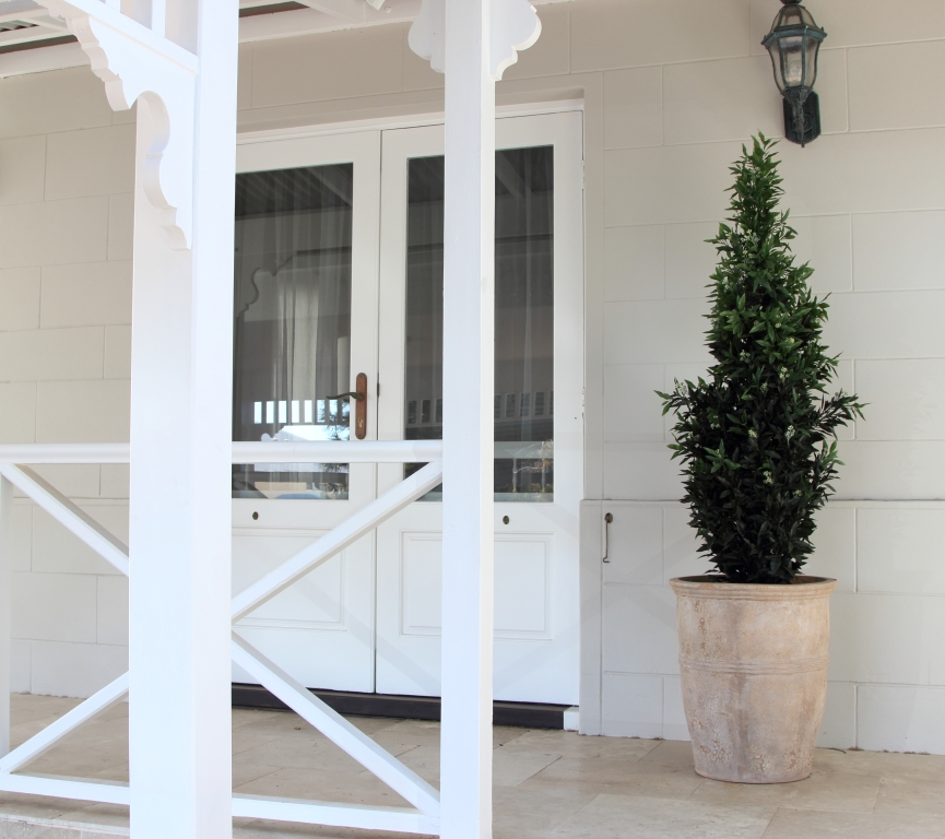 Veranda with potted tree