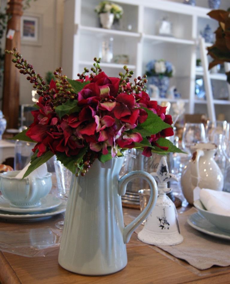 Pink Hydrangeas in blue pompadore jug