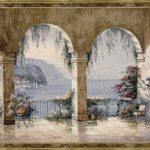 tapestry, archway, view, scenery, wall, art,