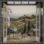 villa, balcony, table, chairs, french doors, hillside, landscape, tapestry, wall, art, hanging
