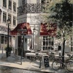 cafe, crepes, france, french, tapestry, usa, bicycle, wall, art, hanging,