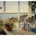 tapestry, wall, hanging, art, lakeside, veranda, adirondack, waterside, view, porch,