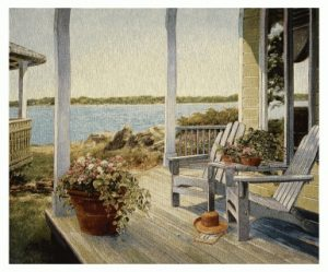tapestry, wall, hanging, art, lakeside, veranda, adirondack, waterside, view, porch,