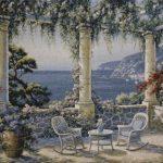 collumns, mediterranean, terrace, chairs, waterside, tapestry, wall, art, hanging