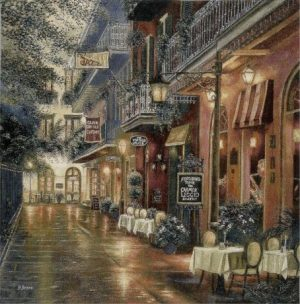 new, orleans, usa, america, cafe, terrace, scene, tapestry, wall, hanging, art