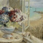 seaside, hydrangeas, flowers, window, tapestry, wall, hanging, art,
