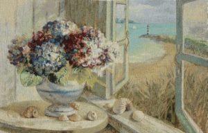 seaside, hydrangeas, flowers, window, tapestry, wall, hanging, art,
