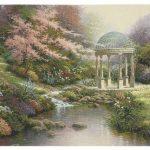 serenity, lake, gazebo, garden, tapestry, wall, art, hanging