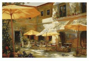 yellow, umbrellas, cafe, street, tapestry, wall, art, hanging