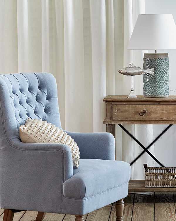 Blue Button Chair